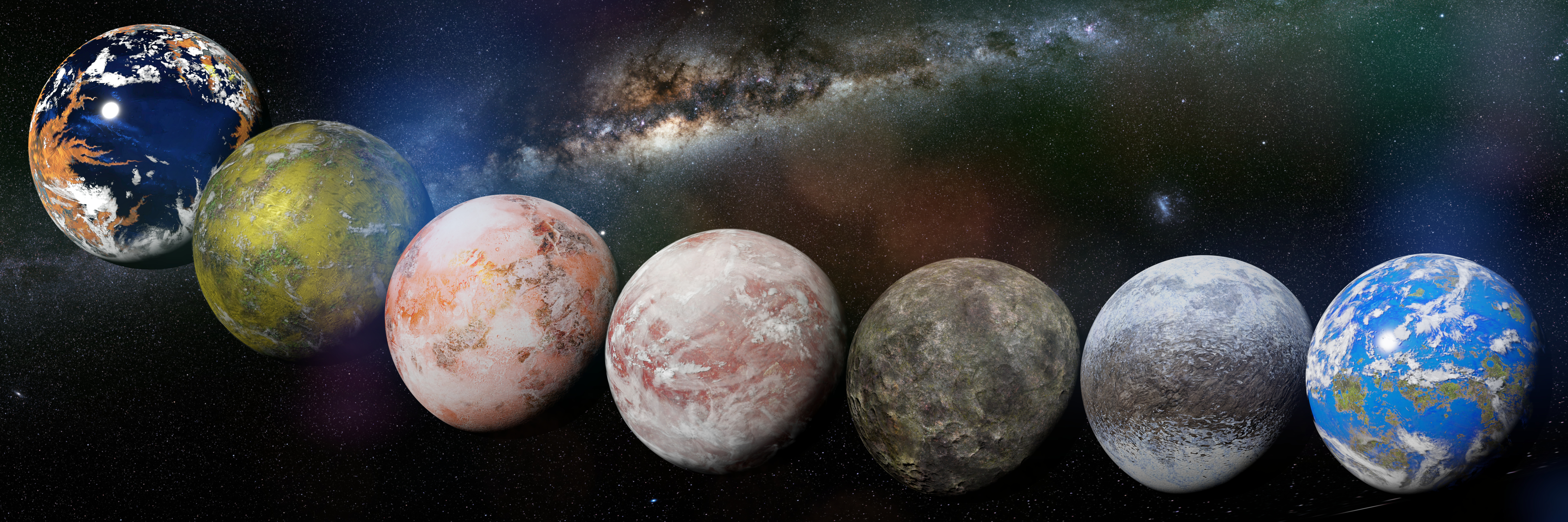collection of alien planets in front of the Milky Way galaxy, nearby exoplanets